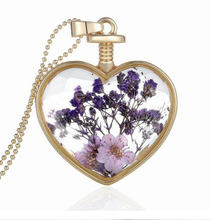 fashion heart dried flowers glass Pendant natural purple flower herbarium pendant jewelry girls favorite peach heart necklace(China)