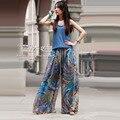 Bohemian chiffon Impresso Calças 2016 Primavera Verão Plus Size XXL Casual Calças Soltas calças de cintura alta chiffon calças perna larga