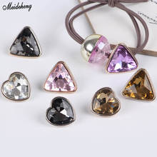 Mini Fashion Love Heart Crystal Jewelry Drill DIY Beads Caring Triangular Edge Self-Made Girls Kids Hair Accessory