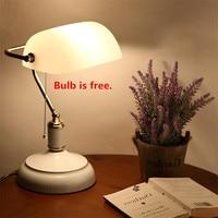Vintage White Desk Lamp E27 Powerbank Table Light Office Retro Lamparas Wedding Bedroom Bedside Luminaire Golden Lustre Fixtures