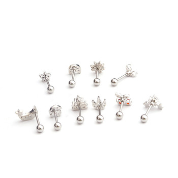 Feelgood Cz Moon Star Flower Tiny Cartilage Earring Small Cartilage Stud Ear Helix Piercing Jewelry 2