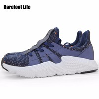 Navy Color Noctilucent Leather PU Man Woman Sneakers 2018 Fly Woven Upper Athletic Sport Running Whoes
