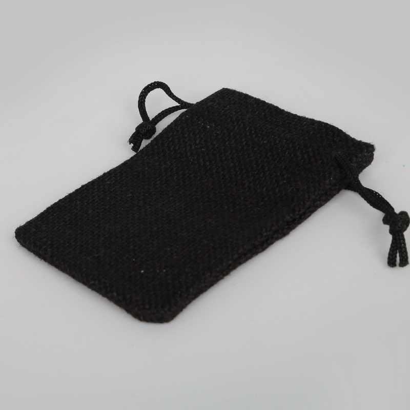 Выберите размер 4 черные хлопковые льняные Подарочные мешки сувенир для свадебной вечеринки держатель ожерелье Браслеты Ювелирные изделия муслин упаковка Рождественский мешочек