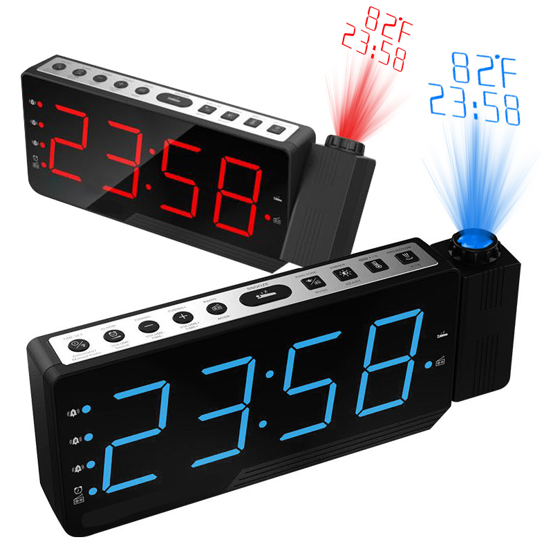 New Digital Projection Radio Alarm Clock Snooze Timer Temperature LED Display USB Charge Cable Table Wall FM Radio Clock