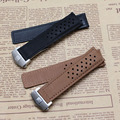 22mm 24mm New Soft Smooth Black Brown High Quality Genuine Leather Watch Band Strap Brushed Steel Clasp Buckle For BRAND hours