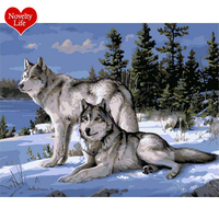 No With Frame Wolf Animals DIY Coloring Painting By Numbers Kits Paint On Canvas Acrylic Painitng