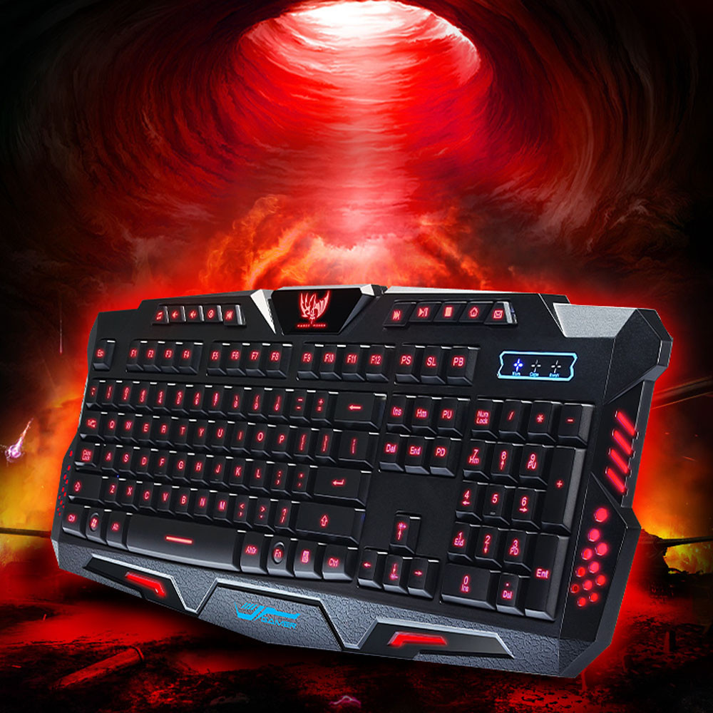Best Price Three Color Backlight M200 Multimedia Ergonomic Gaming Keyboard Wired