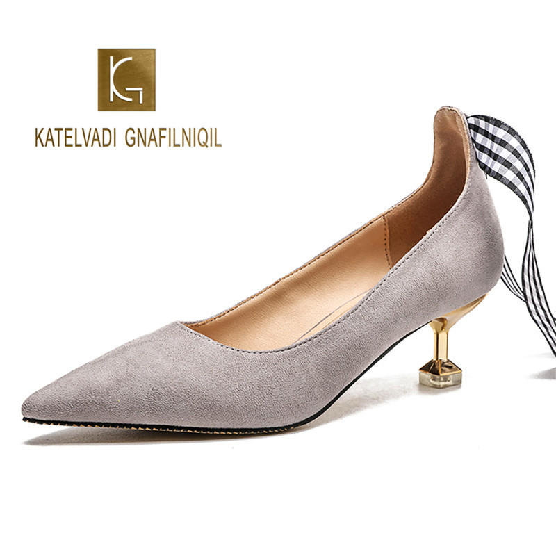 Female Ankle Strap High Heels Grey Flock 5CM Heels Gladiator Shoes Grid Belt Lace Up Women Casual Pumps K-269 trendy women s pumps with flock and ankle strap design