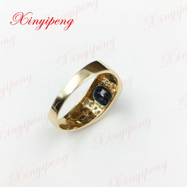 18 k gold inlaid natural sapphire ring ring 6 by 8 male contracted sedate Dark blue 3