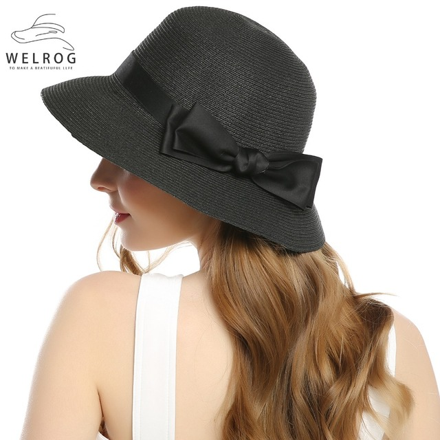 8c0f6289 WELROG Women's Summer Small Brim Beach Hats Sexy Chapeau Ribbon Bow Knot Floppy  Sun Caps New