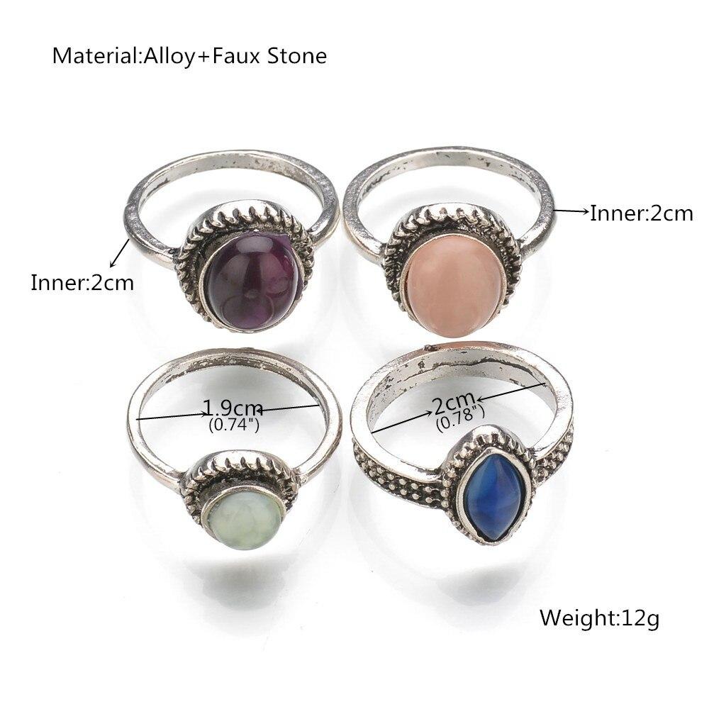 2017 новое поступление Для женщин модные панк 4 цвета геометрический искусственного камня средний палец круглый Кольца комплект Для женщин л...