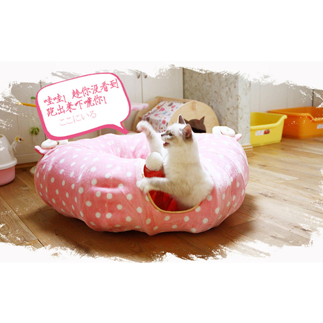 Christmas Pet Tunnel Cat Beds House and Sleep with Ball Cat Play Tunnel Funny Cat Long Tunnel Play Toy Collapsible Bulk