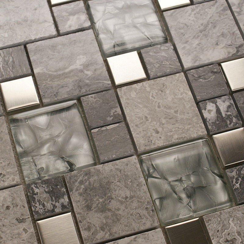 metal mosaic tile mirror kitchen backsplash metal crystal glass
