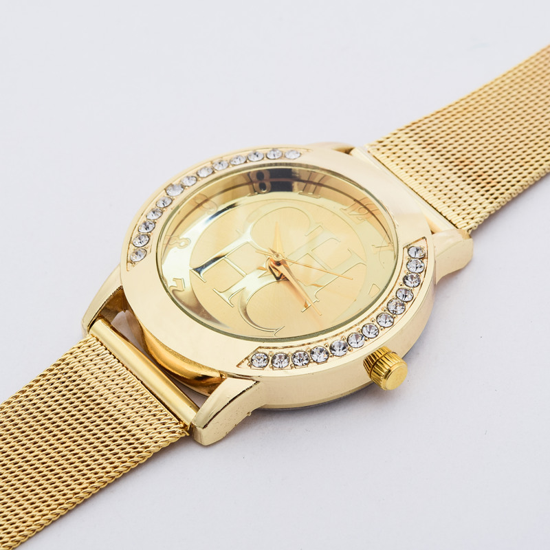 2016 New Brand Gold Genève Crystal Casual Quartz Watch Kvinder Metal - Dameure - Foto 5