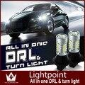 Guang Dian carro levou luz de Circulação Diurna DRL com a volta de luz luzes & Frente Sinais de Volta de Luz brilhante CARRO Para ASX 7440 T20 WY21W
