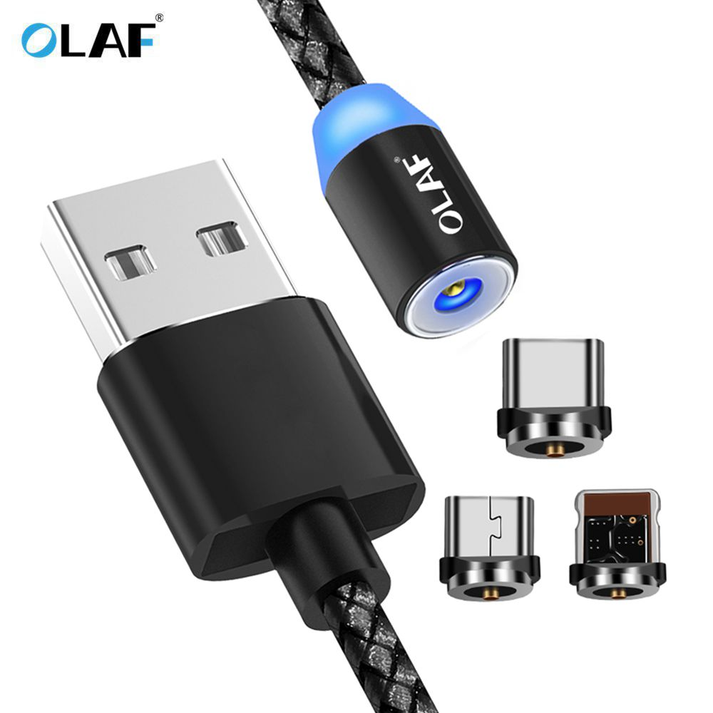 OLAF 3in1 Magnetic Cable Micro USB Cable For Xiaomi 5 5s LED Lights Cable For iPhone 7 6 5 USB Type-C Cable for Samsung S8 Note8