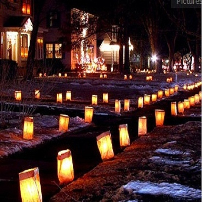 10 Pieces Sunshine Tea Light Holder Luminaria Paper Lantern Candle Bag For Bbq Christmas Party Wedding In Diy Decorations From Home Garden On