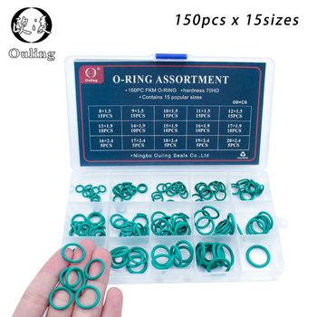 150pcs Green FKM O Rings Rubber Kit 15Sizes O ring Seal Rubber Sealing O-rings Washer Gasket O-Ring Set Assortment Set Kit Box silicone rubbe ring green fkm o ring 30size o ring seal rubber sealing o ring washer gasket o ring set assortment kit box