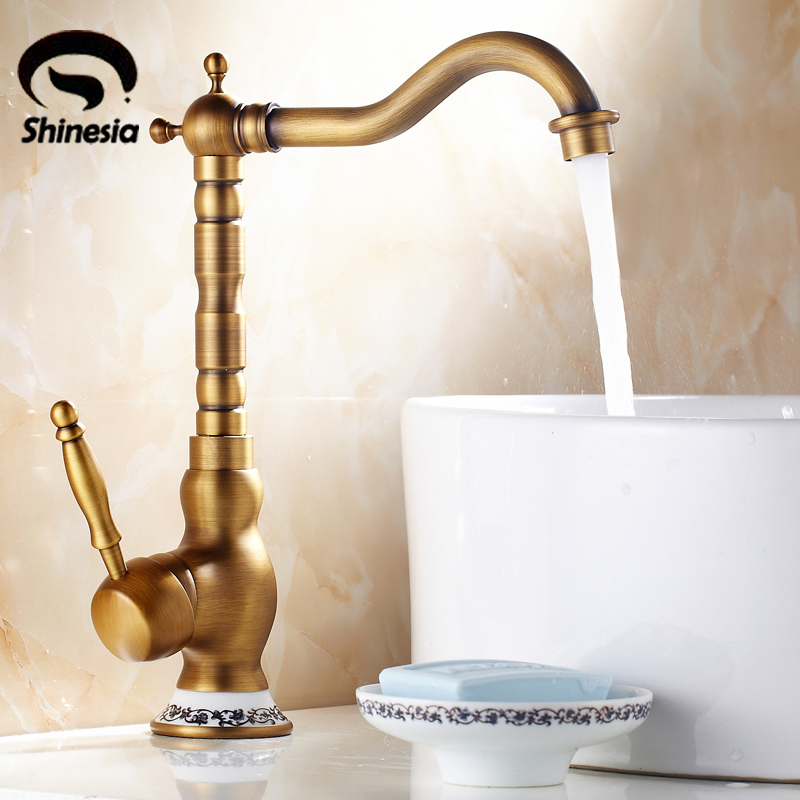 Free Shipping Antique Brass Bathroom Sink Faucet Single Handle Mixer Tap Countertop Vessel Mixer Tap Solid Brass solid brass single handle waterfall spout bathromm sink faucet countertop basin mixer tap antique brass