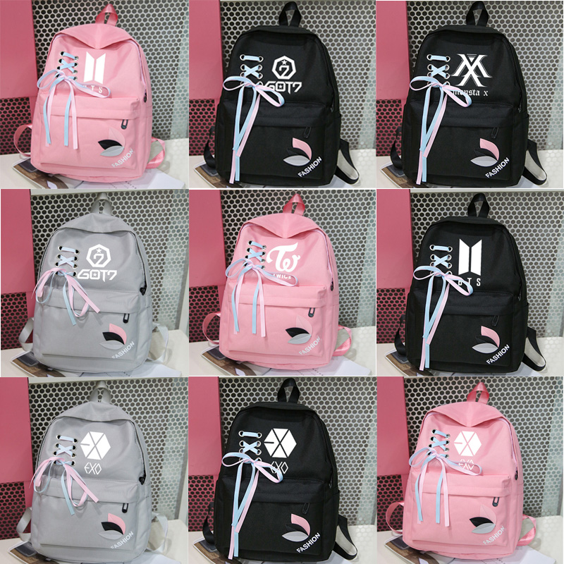 Luggage & Bags 2019 Exo Backpack Kpop Harajuku Got7 Monsta X K-pop Bangtan Twice Canvas Bag Rucksacks Girls Women Backpacks Sac A Dos Femme