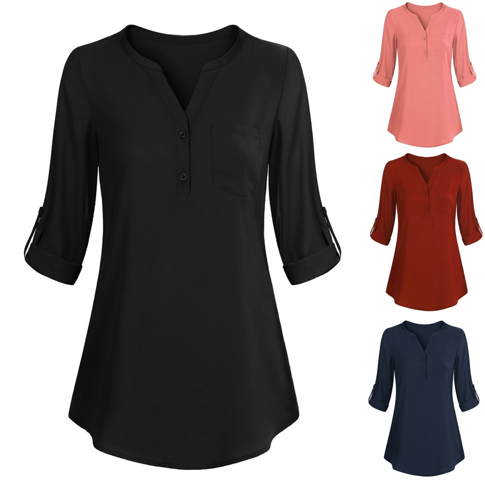 2019 Mode Lange Hülse Der Frauen Fit Lose Dünne Roll-up Top Casual V Neck Taste Layered Hemd Blusen Ropa Verano Mujer Warmes Lob Von Kunden Zu Gewinnen