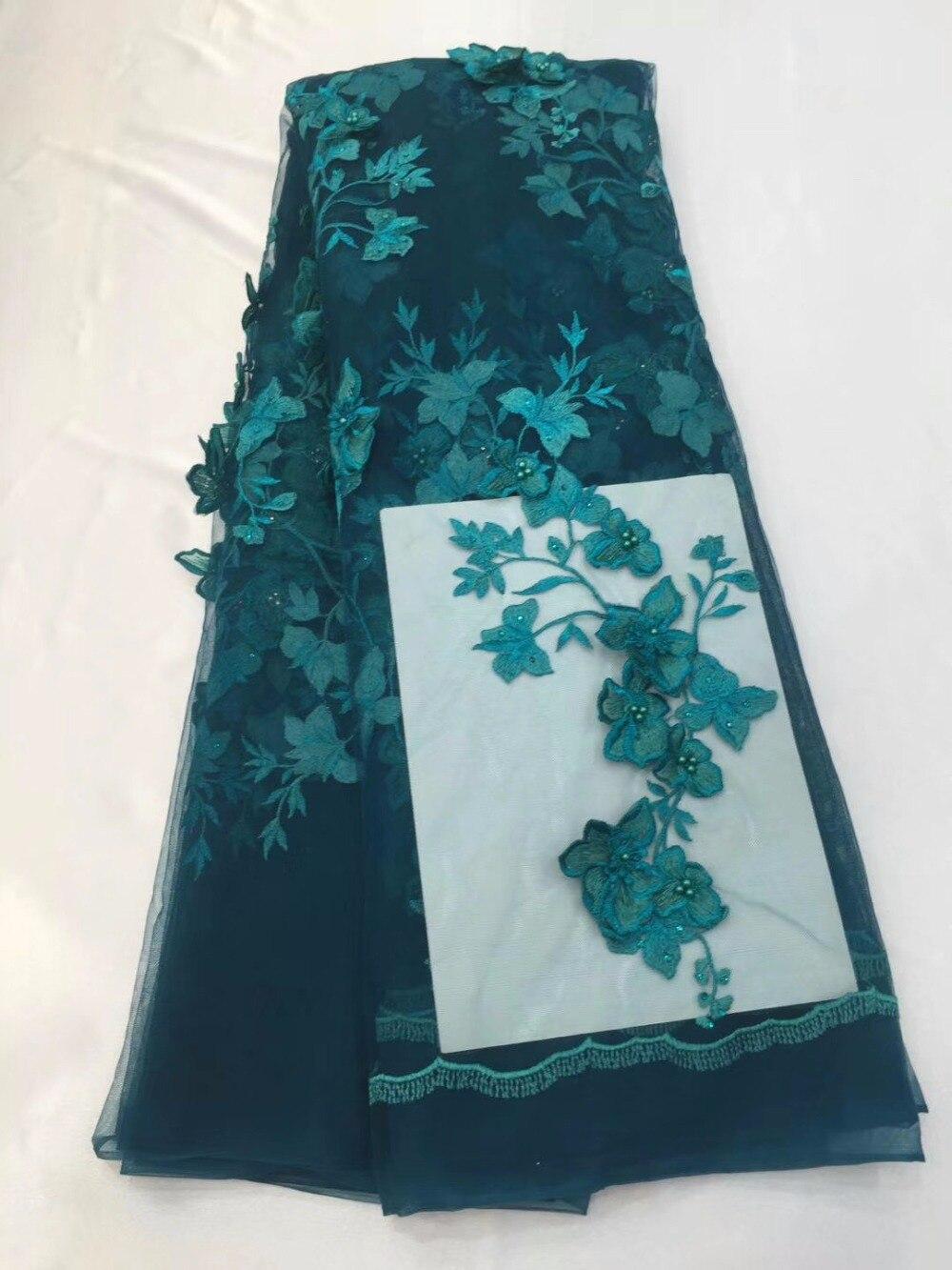 Dentelle de tulle brodée lourde de haute qualité de 5 yards avec des fleurs 3D vertes, tissu de tulle brodé perlé de dernière conception avec fleur