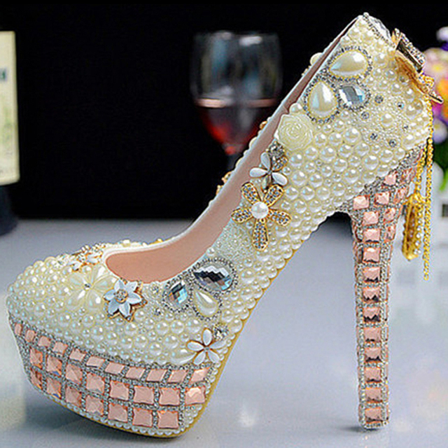 56675e3423bc Fashion Luxurious Pearls Crystals Wedding Shoes Custom Made Size 11 cm High  Heel Bridal Shoes Party Prom Women Shoes