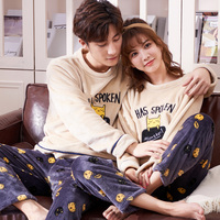 Coral Fleece Couple 2PCS Shirt&Pant Long Sleeve Flannel Warm Thick Home Wear Casual Pajamas Suit Lovers Cartoon Nightwear Set