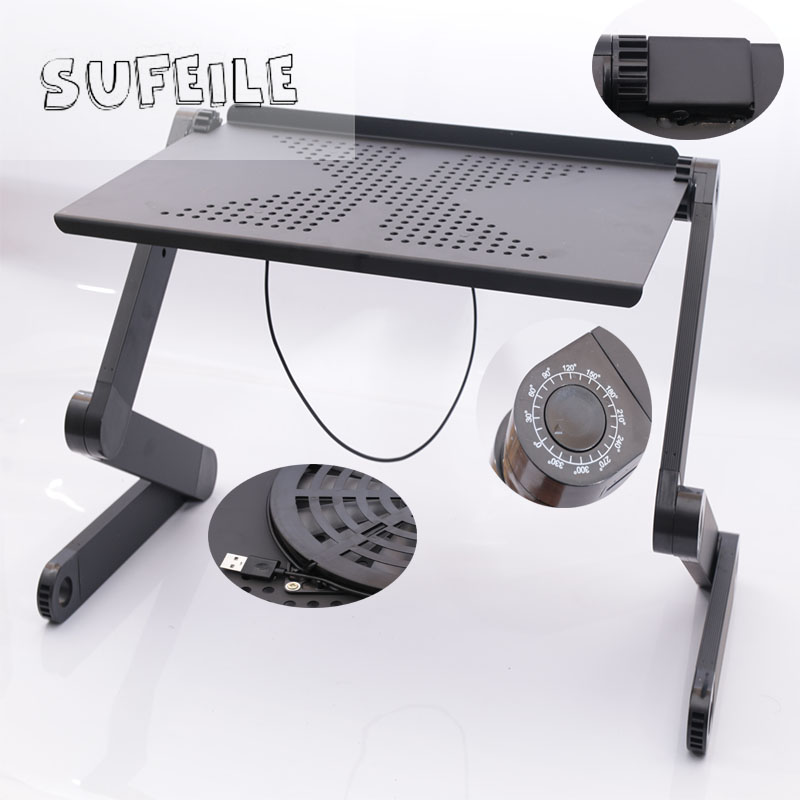 SUFEILE Black folding laptop desk Portable students Learn computer desk Bed office laptop computer desk D5