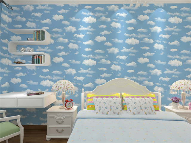 Blue Sky And White Cloud Wall Paper Roll Grey Non Woven Wallpaper Home Decor