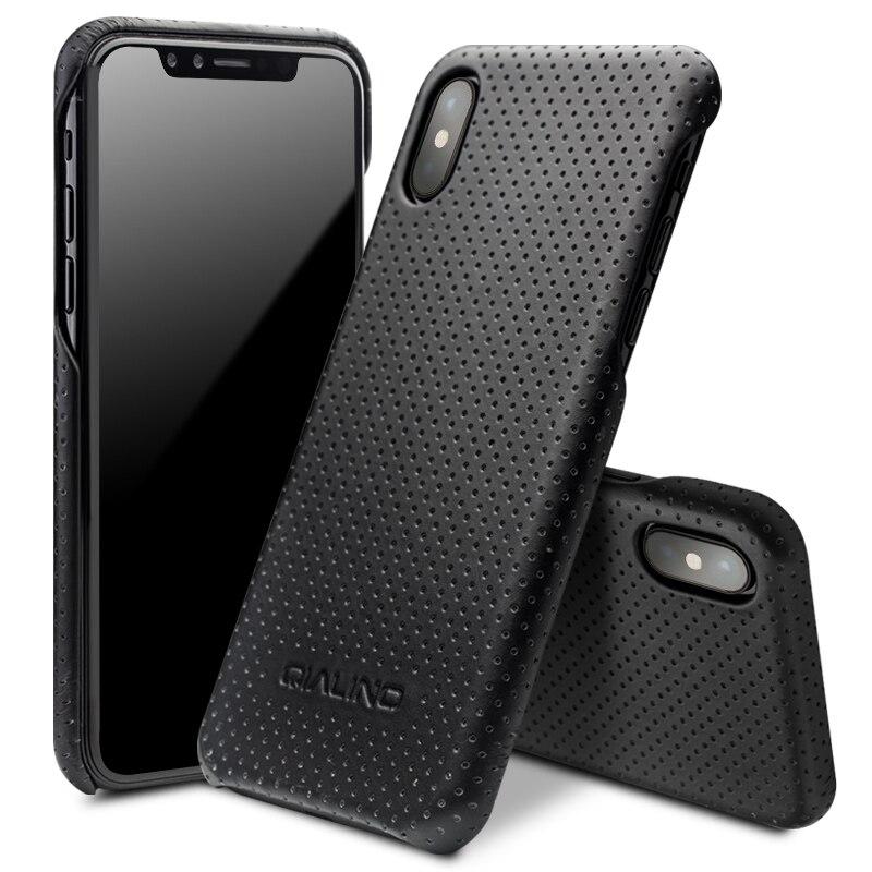 QIALINO En Cuir Sac Cas pour l'iphone X Mode Ultra Mince Véritable en cuir Téléphone Couverture pour iPhone X De Luxe Retour Cas pour 5.8 pouces