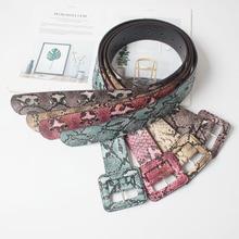 New Colorful Snake Skin Leather Waist Belt Luxury Buckle Pin Women PU Belts Coat Cummerbund Corset Girdle Ladies Show Dress