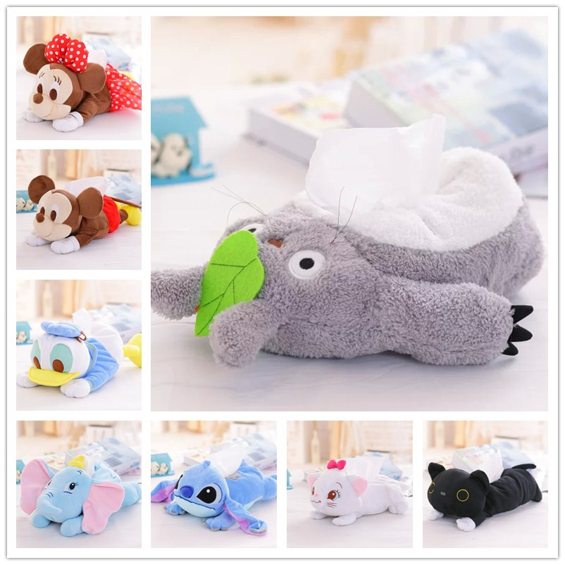 new 1pc beautiful cartoon stuffed toy totoro stitch michey marie cat donald duck Dumbo fabric cover paper towels cover gift