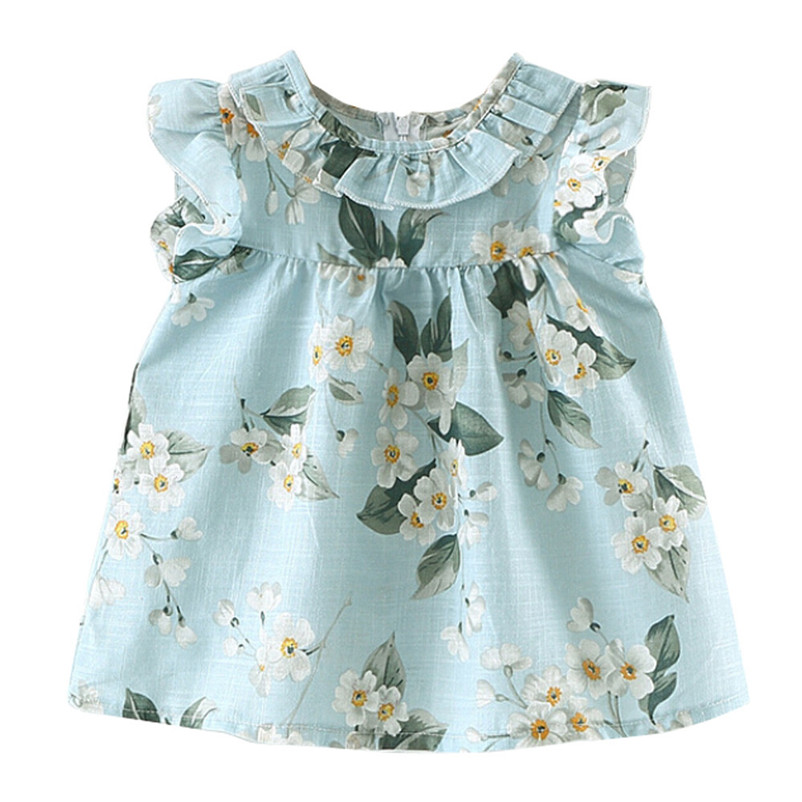 2018 Summer New girl dress Toddler Girls Summer Sleeveless Flower Princess Kids Baby Party Wedding Dress Children Clothing P6 ems dhl free 2018 new lace tulle baby girls kids sleeveless party dress holiday children summer style baby dress valentine