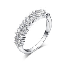CZ Jewelry Fashion double crystal Rings for Women wedding Engagement Jewelry 925sterliRing Paved Silver Plated For Birthday gift