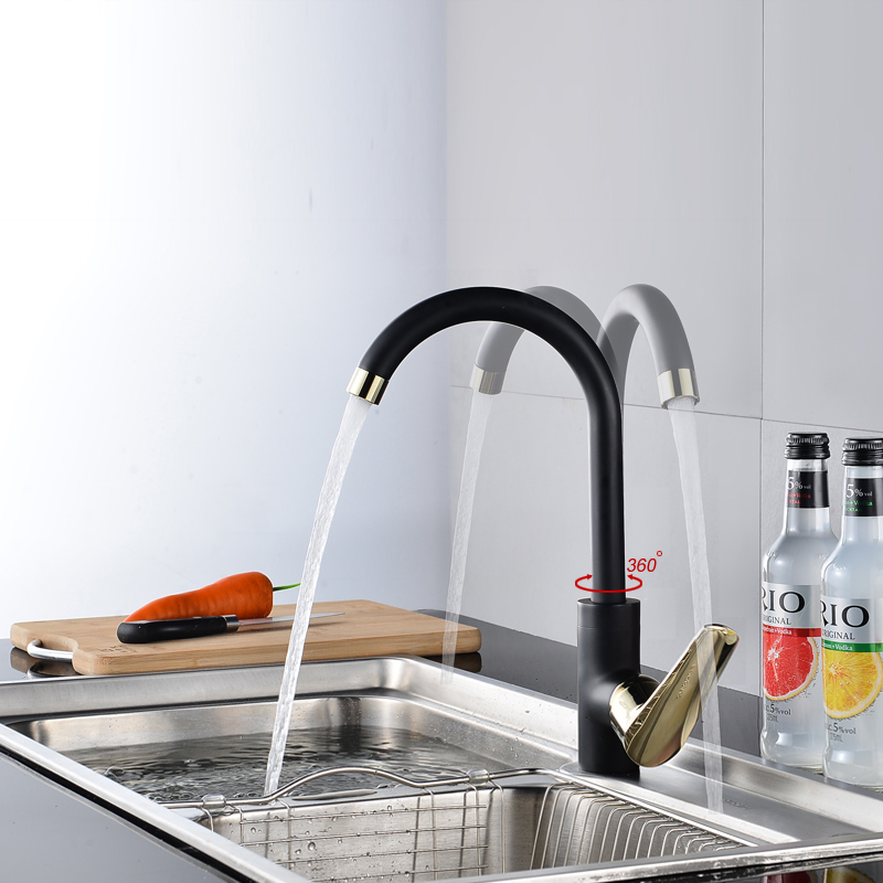 Bakala 360 Rotating Kitchen Faucet Black Single Handle Sink