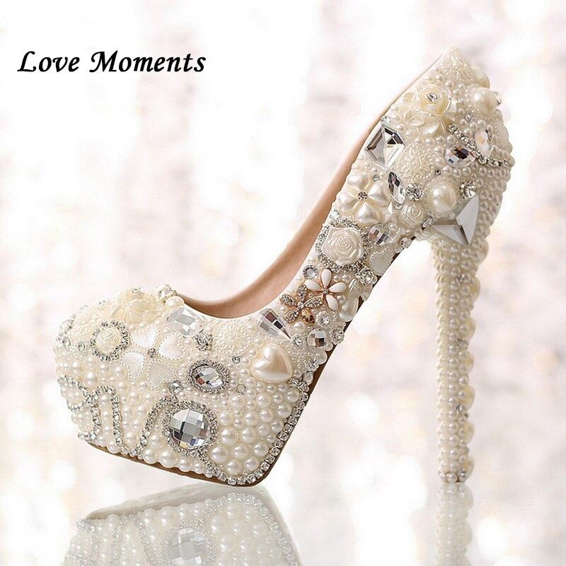 Esthétique chaussures pour femmes plate-forme de mariée chaussures de mariage unique ivoire perle strass chaussures de mariage 14 cm à talons hauts