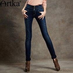 ARTKA, женские летние винтажные джинсы-карандаш с завышенной талией, тонкие, хлопковые, подходят ко всему, предпродажа, KN16947Q