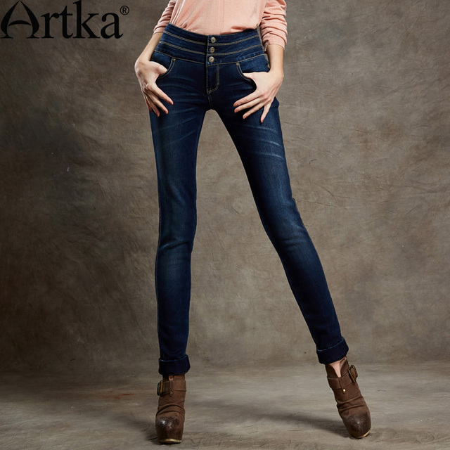 ARTKA Women'S Summer  Vintage Collect Waist Water Washed Show Thin Cotton All Match Pencil Jeans Presale KN16947Q
