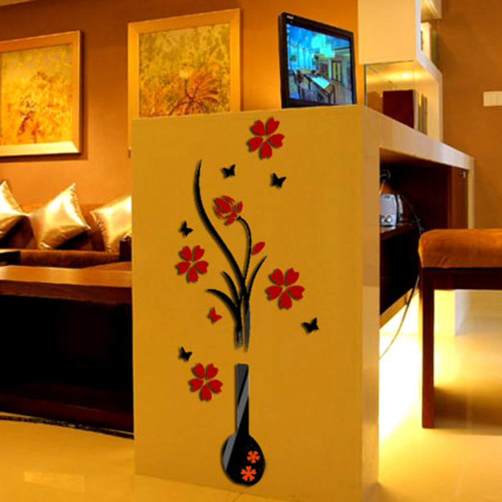 Red DIY Vase Flower Tree Crystal Wall sticker Hard Arcylic 3D Wall ...