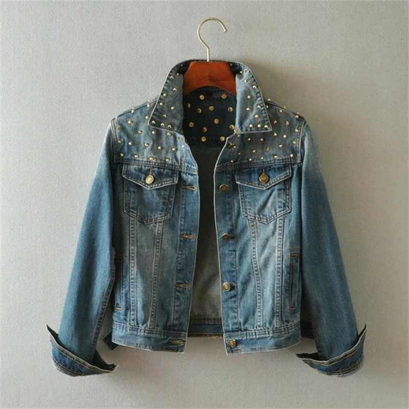 Весна Для женщин джинсовая куртка с заклепками в стиле панк Винтаж укороченные короткие джинсовая куртка с длинными рукавами Джинсы для женщин пальто кардиган светло/Deep Blue