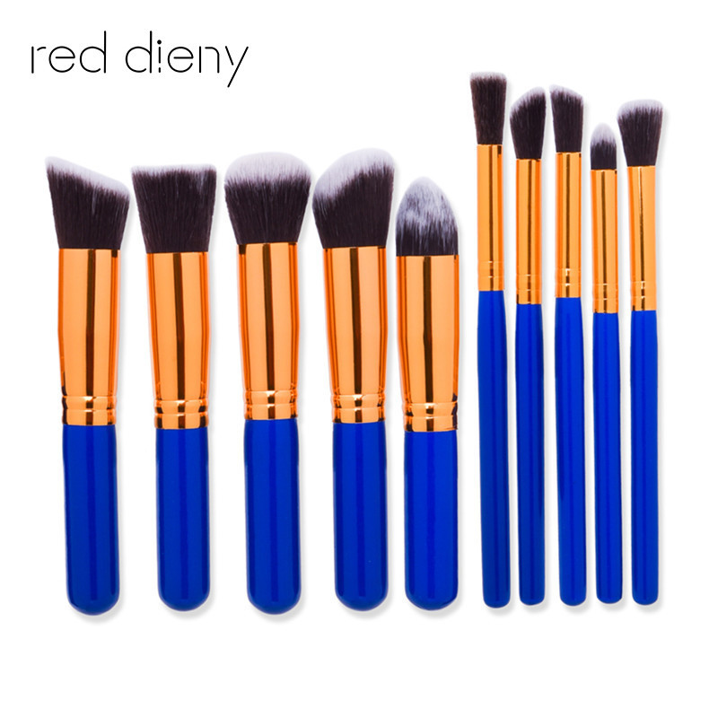Pro Blue gold 10Pcs Makeup Brush Sets Tools Cosmetic Brush Foundation Eyeshadow Eyeliner Lip Powder Brush Pinceau Maquillage
