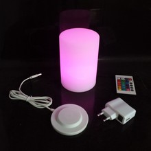 D10*H15cm LED RGBW PE Cylindrical Night Light With 24 keys remote control for Hotel Free shipping 2pcs/Lot все цены