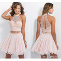 New Arrival Robe Cocktail Vestido De Festa Curto Pink Tulle Beading Sequined Custom Made Mini Cocktail Dress