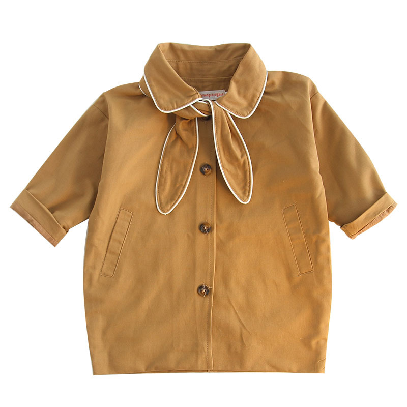 Children's clothing, women's long single-breasted windbreaker jacket fashion to send a bow tie can also be used as a hair band недорго, оригинальная цена