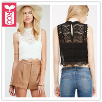 Brand High Quality LACE 2015 Womens Waves See Through Tank Vest Ladys Sleeveless Crop Tops Short