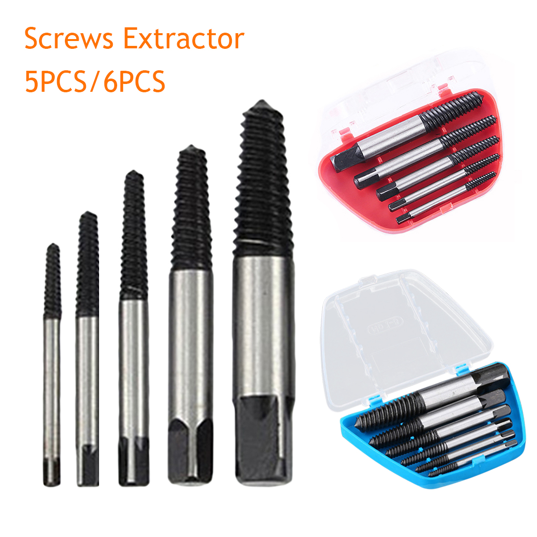 5pcs/6pcs Screw Extractors Damaged Broken Screws Removal Tool Used In Removing The Damaged Bolts Drill Bits With Case