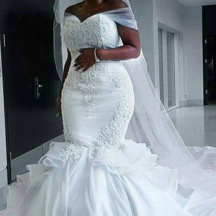DZW030  Bridal Gowns Tulle Wedding Dresses off the shoulder Mermaid wedding gown 2019 Vestidos de novia Plus Size