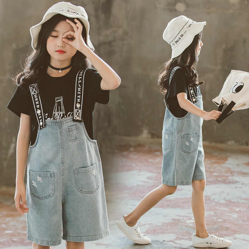 a6c2f9e5a513a Girls Summer Clothes Set 2019 Kids Clothing New Girl Clothes Casual Costume  For Children 6 8 12 Year Teen T-Shirt+Jumpsuit 2 Pcs