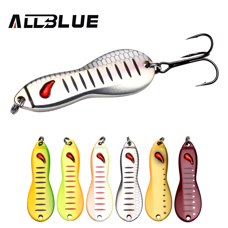 ALLBLUE PEANUT Metal Lure 15g 48mm Jigging Spoon Ice Fishing Lure Freshwater Artificial Hard Jig Bait Brass Fishing Tackle castfun slow jig spoon lure saltwater metal jigging fishing lure 1pc 20g 40g 60g 80g hard baits